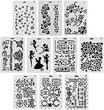 ccmart plástico dibujo plantillas de pintura, Set de 10con geometría patrón, flores, Ángel Forma, forma de corazón pecfect para cuaderno/diario/Scrapbook/diario/tarjeta DIY manualidades