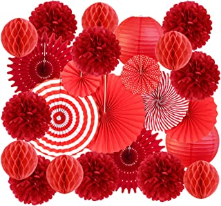 Party Decorations Set Red, Birthday Decorations for Girls Valentines Decorations Hanging Paper Pom Poms Flower Fan and Hon...
