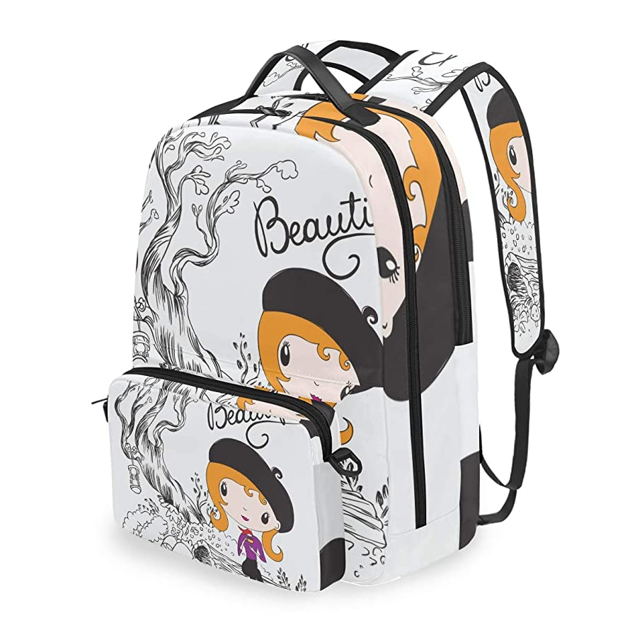 ALLMILL Cute Girl School Backpack With Removable Pencil Case, 2 In 1 Travel Daypack Fits 15 Inch Laptop For Girls, Boys & Teens