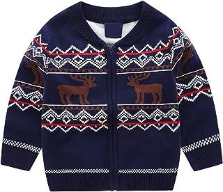 Niños Cárdigan Navideños Suéter Manga Larga Cremallera Reno Jersey de Punto Chaqueta de Sudor Prendas de Punto Abrigos