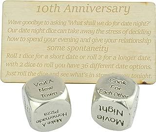 10 Year Anniversary Metal Date Night Dice 100% Pure Tin - Create a Unique 10th Anniversary Date Night