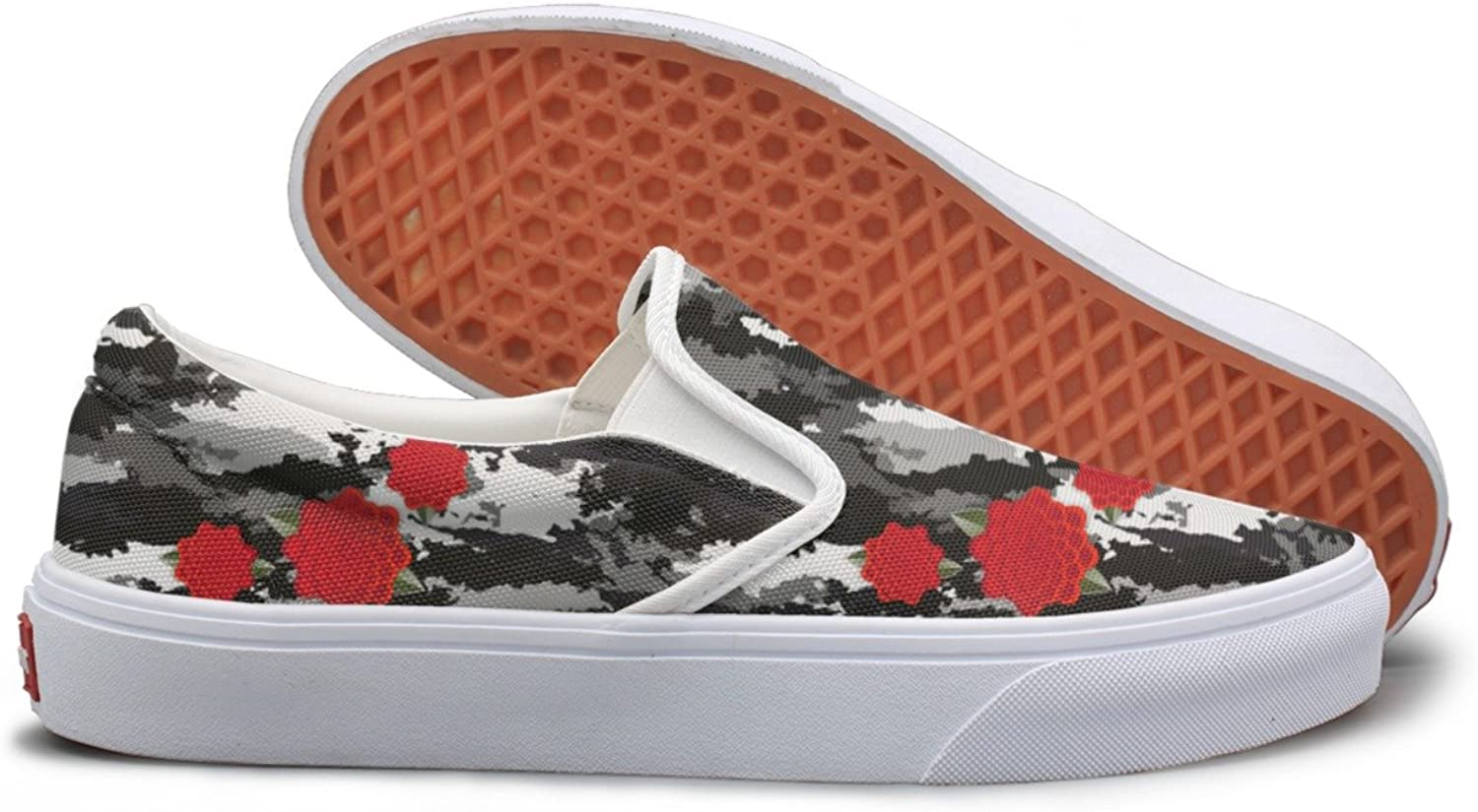 SEERTED Camouflage Army Flowers Canvas Sneakers for Women