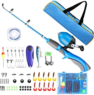 QiyuanLS Kids Fishing Pole, Portable Telescopic Fishing Rod and Reel Combo Kit with Spincast Fishing Reel Tackle Box for B...