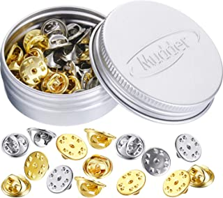 Brass Butterfly Clutch Badge Insignia Clutches Pin Backs Replacement (Gold, Silver, 50 Pieces)