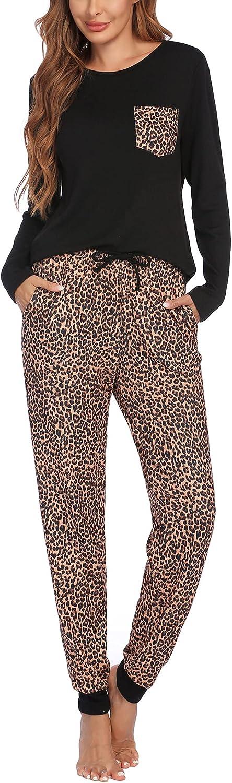 Ekouaer Women's Pajamas Sets with Plaid Pants Long Sleeve Sleepwear Soft 2 Piece Lounge Set with Pockets Black