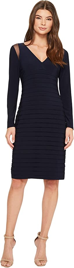 Adrianna Papell - Banded Long Sleeve Sheath