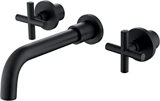 SITGES Matte Black Bathroom Faucet, Double Handle Wall Mount Bathroom Sink Faucet and Rough in Valve Included (Matte Black)