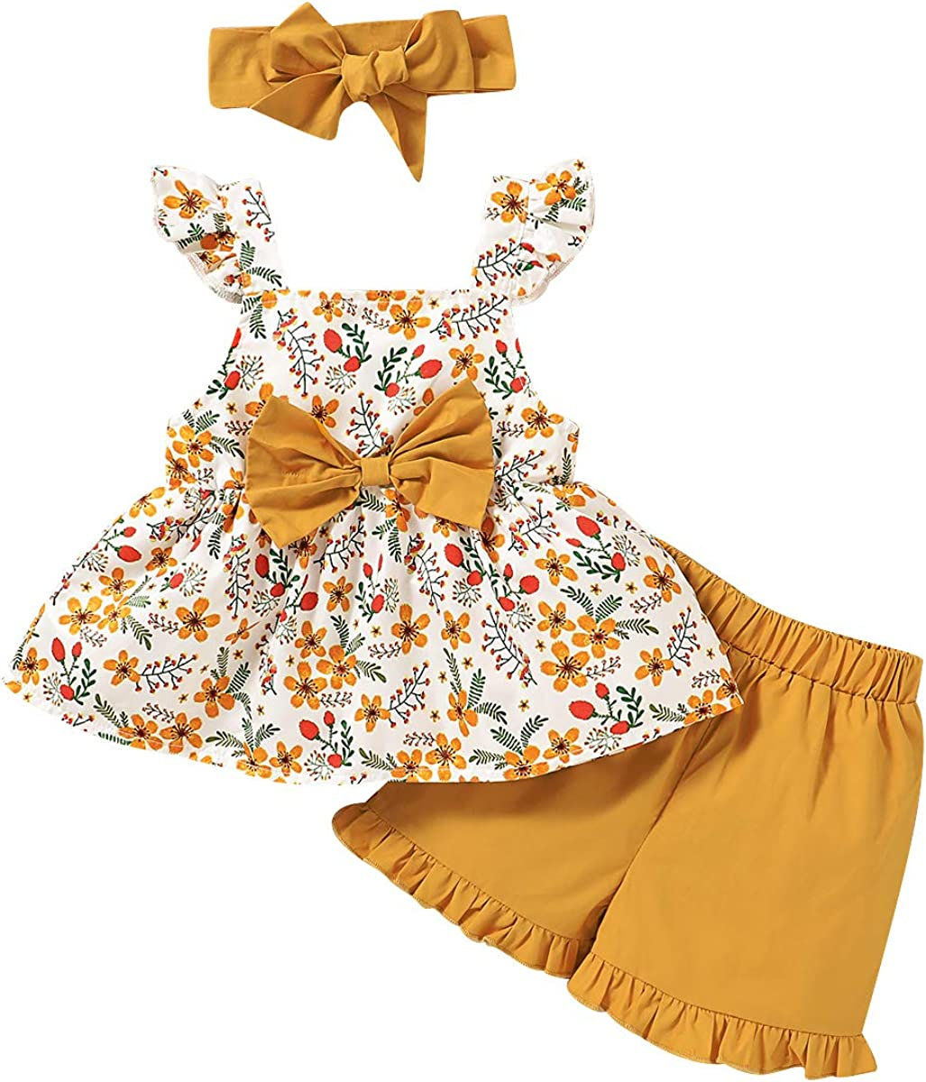 3PCS Toddler Baby Girl Summer Outfits Flower Strap Crop Tops + Short Pants+Cute Headband Clothes Set