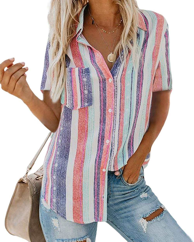 zeyubird Chiffon Blouses for Women Rainbow Striped Blouses Button Down Shirts Tops Short Sleeve Shirts for Women