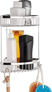 HASKO accessories Corner Shower Caddy - Self Adhesive Shower Shelf with Hooks - Drill Free with Glue or Wall Mount with Screws Shower Organizer - Bathroom Caddy (Polished Stainless Steel SS304)