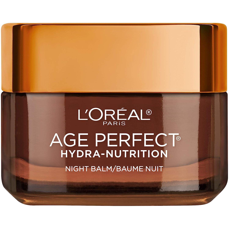 L'Oreal Paris Skincare Age Perfect Hydra Nutrition Ultra Nourishing Honey Night Balm, Face Moisturizer to Comfort, Improve Resilience on Dry Skin, Manuka Honey and Nurturing Oils
