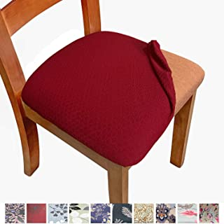 Melaluxe Stretch Dining Room Chair Seat Covers, Removable Washable Jacquard Anti-Dust..
