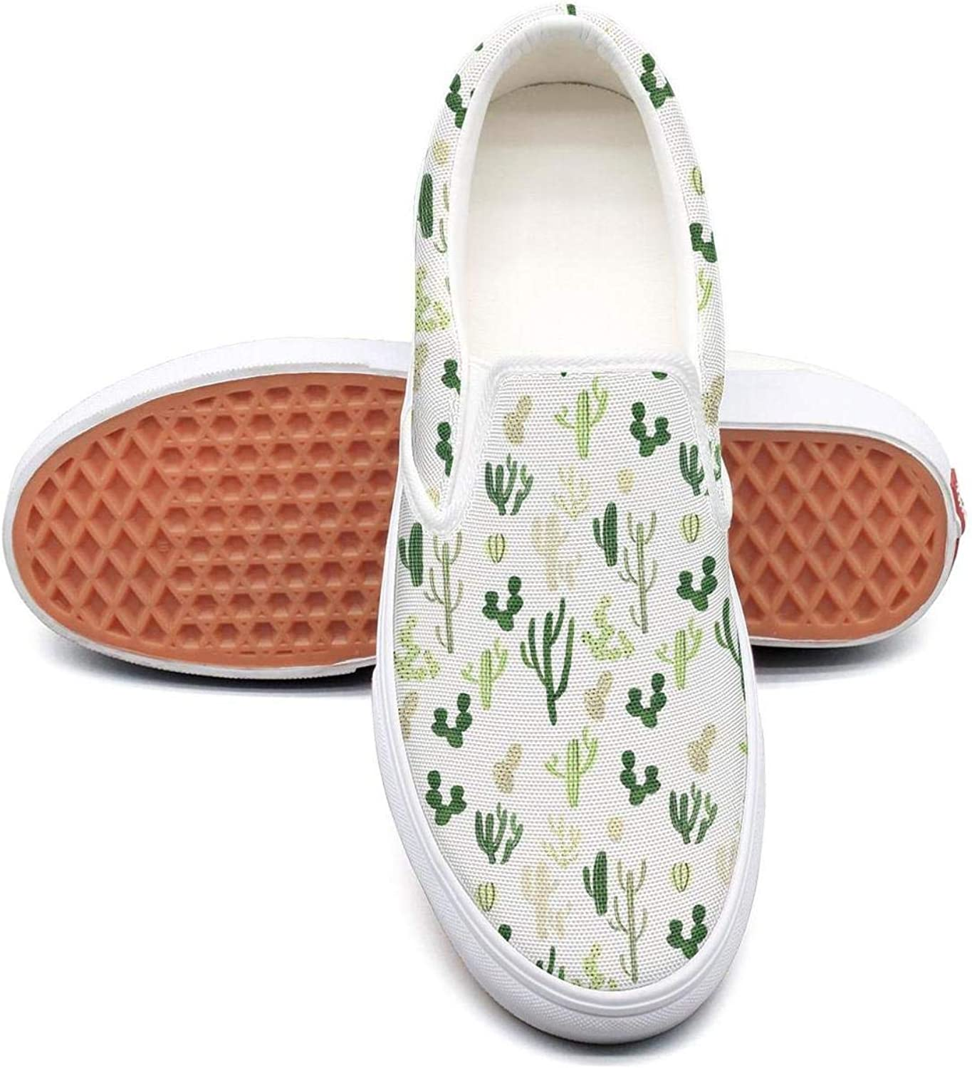 Mindesert Cactus Pattern Slip On Superior Comfort Sneakers Canvas shoes for Women Fashion