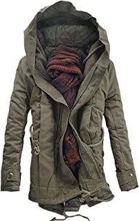 Men's Parka Coat Hooded Double Zip Up Padded Outwear Winter Jacket