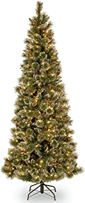 National Tree Glistening Pine with Lights Tree, 7 Foot, Green