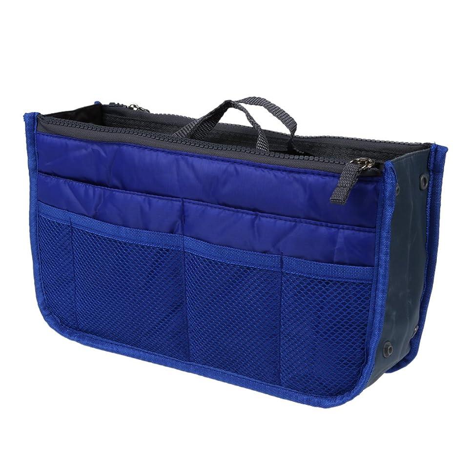 ハンドバッグ,SODIAL(R)ナイロンハンドバッグ インサート 化粧品 ガジェット 財布(ネービー)