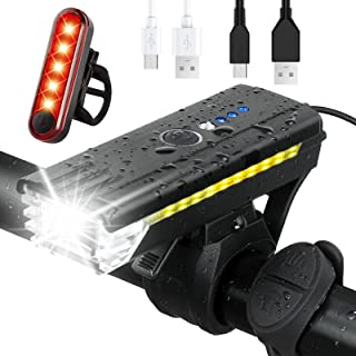 USB Rechargeable Bike Light Set ,Powerful Bicycle Front...