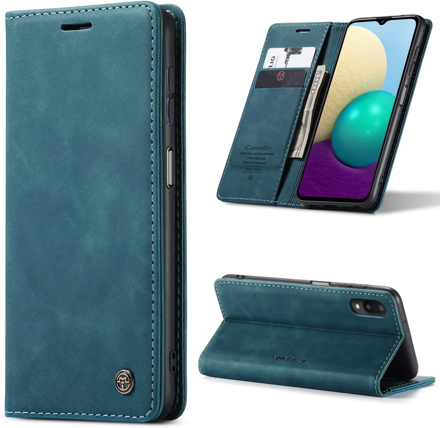 Kowauri Flip Case for Samsung Galaxy A02,Leather Wallet Case Classic Design with Card Slot and Magnetic Closure Flip Fold Case for Samsung Galaxy M02/Samsung Galaxy A02 (Teal)