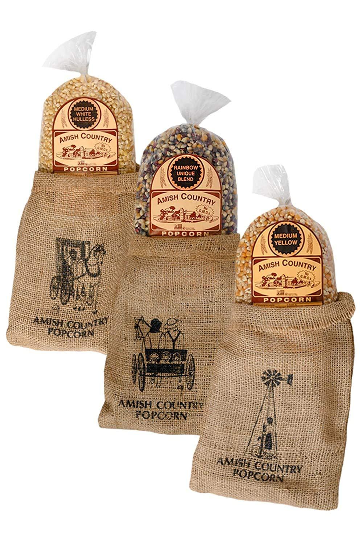 Amish Country Popcorn 3 - 2 Bags Burlap gift Set lb Variety 6 Under blast sales