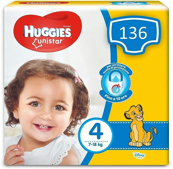 Pannolini, taglia 4 (7-18 kg), confezione da 136 pannolini huggies unistar 02574231