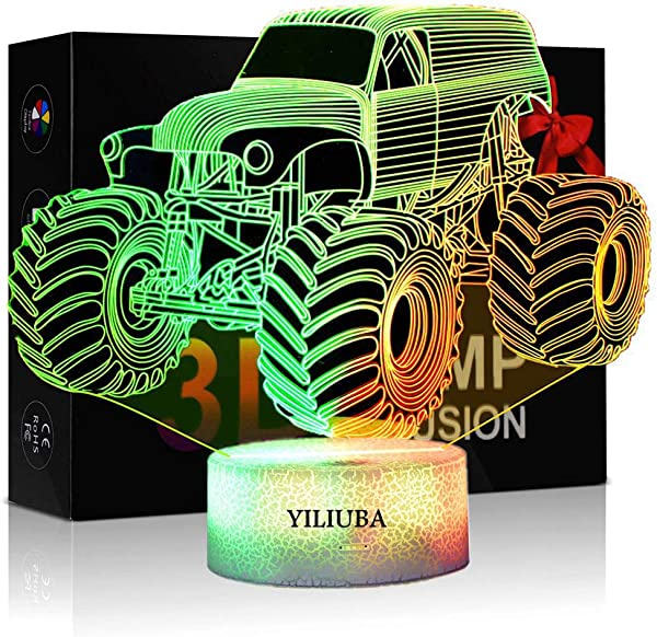 YILIUBA Monster Truck LED Lamp 3D Visual Illusion 7 Colors Touch Switch Nightlight For Home Office Children Room Theme Decoration And Kiddie Kids Children Family