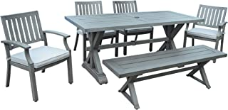 Great Deal Furniture Zoey Outdoor Modern 6 Seater Aluminum Dining Set with Dining Bench, Dark Gray and Silver