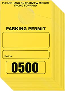 500-Pack Parking Permit, Blank Temporary Parking Pass, Numbered Hang Tags, Car Parking Management, Yellow, 3.15 x 4.75 inches