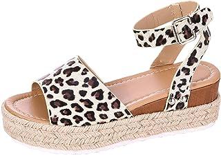 SoonerQuicker Femme sandales plates en similicuir poisson bouche talon compensés chaussure cuir fleur marque fermé Chausso...