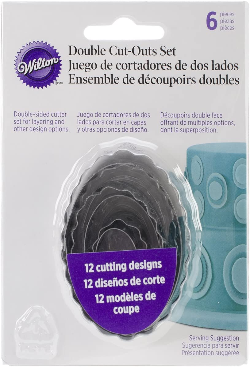 Wilton 6-Piece Nesting Fondant Double Sided Cut Out Cutters, Oval