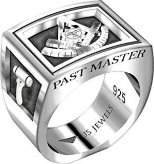 Men's Heavy 0.925 Sterling Silver Freemason Past Master Ring Band, Size 8 to 13