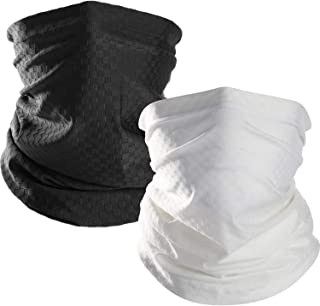 Chuangdi Summer Face Mask UV Protection Neck Gaiter Bandana Balaclava for Outdoors Wear (Black and White, 2 Pieces)