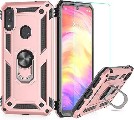 LeYi Funda XiaoMi Redmi Note 7 Armor Carcasa con 360 Anillo iman Soporte Hard PC y Silicona TPU Bumper antigolpes Fundas Carcasas Case para movil Redmi Note 7 con HD Protector de Pantalla,Oro Rosa