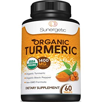 USDA Certified Organic Turmeric Supplement – Includes Organic Turmeric & Organic Black Pepper – 1,400mg of Turmeric per Serving – 60 Turmeric Tablets