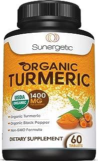 USDA Certified Organic Turmeric Supplement – Includes Organic Turmeric & Organic Black Pepper – 1,400mg of Turmeric per Serving – 60 Turmeric Tablets