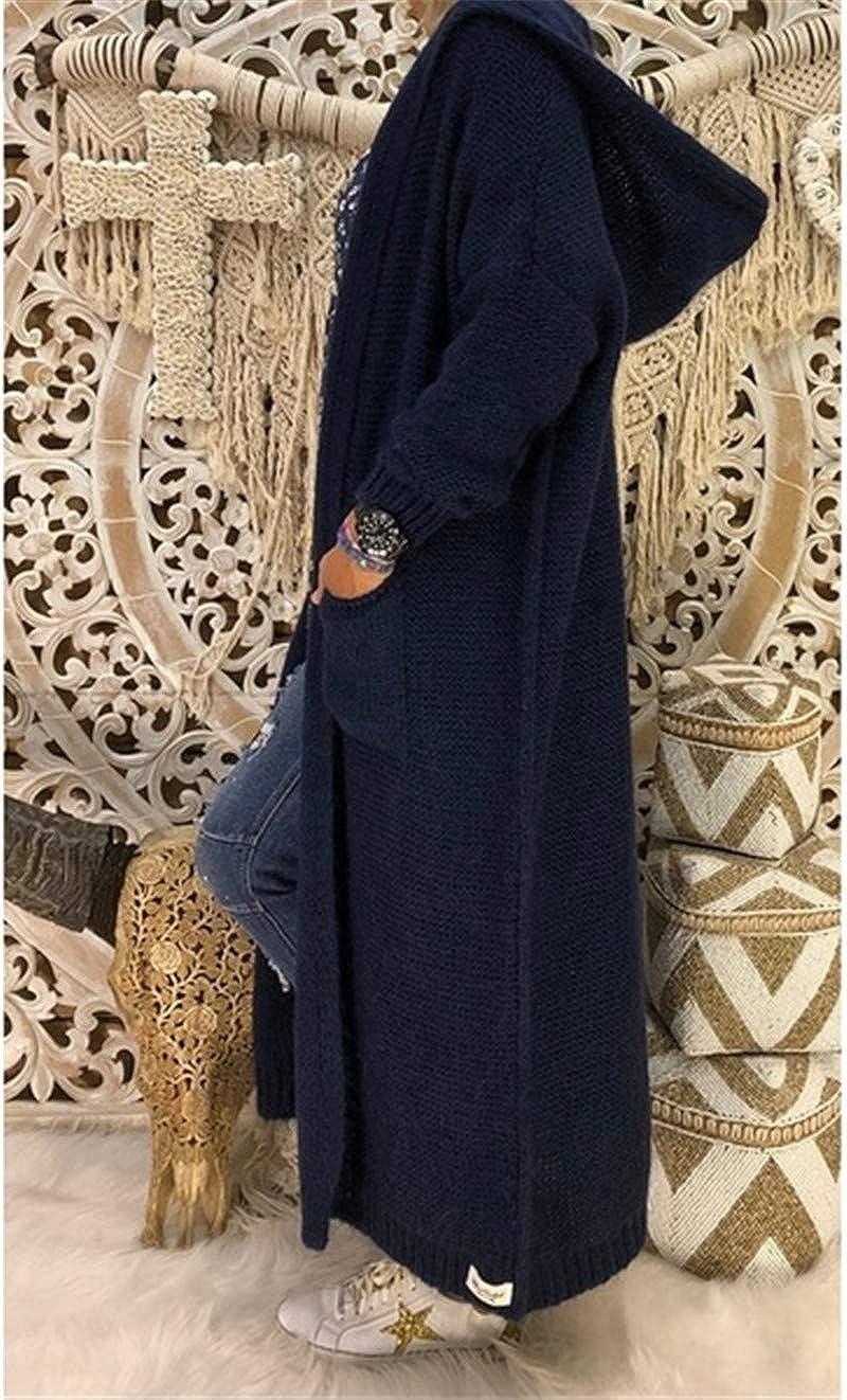 Onsoyours Taschen Kapuzen Langarm Oversize Grobe Cardigan Strickjacke Lang Sweater Damen Mode Lang Mantel Schwarz