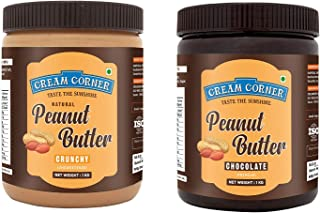 CREAM CORNER Peanut Butter Combo Crunchy + Chocolate Spread All Natural High Protein Nut Butter Healthy Snack (1Kg+1Kg)