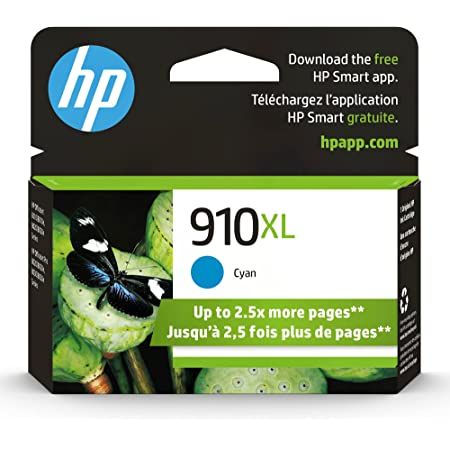 Original HP 910XL Cyan High-yield Ink Cartridge | Works with HP OfficeJet 8010, 8020 Series, HP OfficeJet Pro 8020, 8030 Series | Eligible for Instant Ink | 3YL62AN
