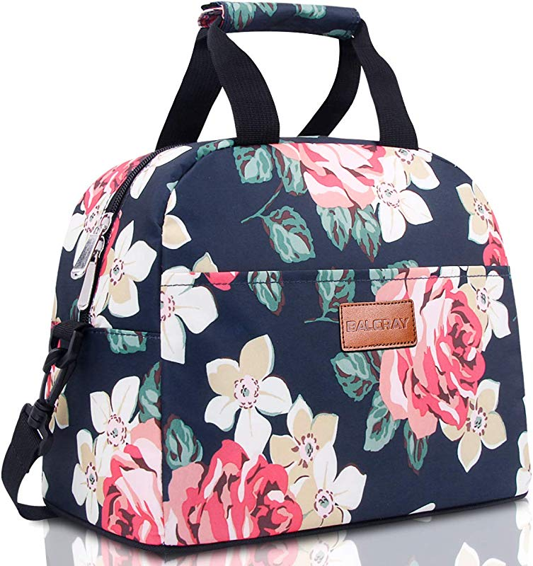 BALORAY Lunch Bag For Women With Shoulder Strap Insulated Lunch Tote Bag Perfect For Work Picnic Dark Blue