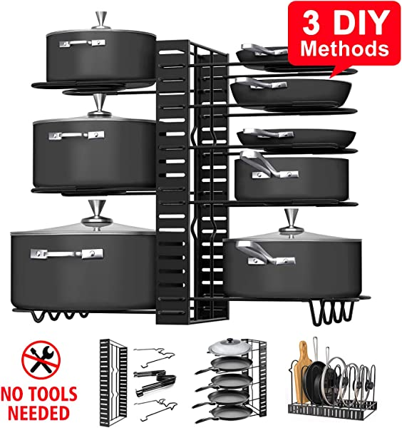 Pot Rack Organizers G TING 8 Tiers Pots And Pans Organizer Adjustable Pot Lid Holders Pan Rack For Kitchen Counter And Cabinet Lid Organizer For Pots And Pans With 3 DIY Methods 2019 Upgraded