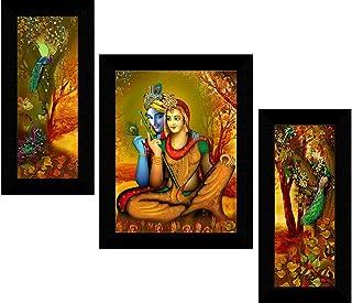 1ArtofCreation Set of 3 Krishna Radha Love Modern Art UV Textured Home Decorative Wall Painting With Frame 12 Inch X 18 In...