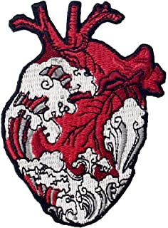 The Waves and Heart Patch Embroidered Applique Badge Iron On Sew On Emblem