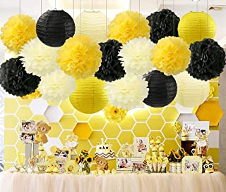 HappyField Honey and Bee Baby Shower Decorations Yellow Cream Black Tissue Paper Pom Poms Flower Paper Lanterns for Honey Bee Birthday Party Wedding Bridal Shower Outdoor Decoration 18Pcs Mixed 8