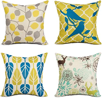 Top Finel Leaves Flowers Decorative Cushion Covers Throw Pillow Cotton Linen Sofa Home Decor Set of 4,18x18 inch,Yellow&Blue
