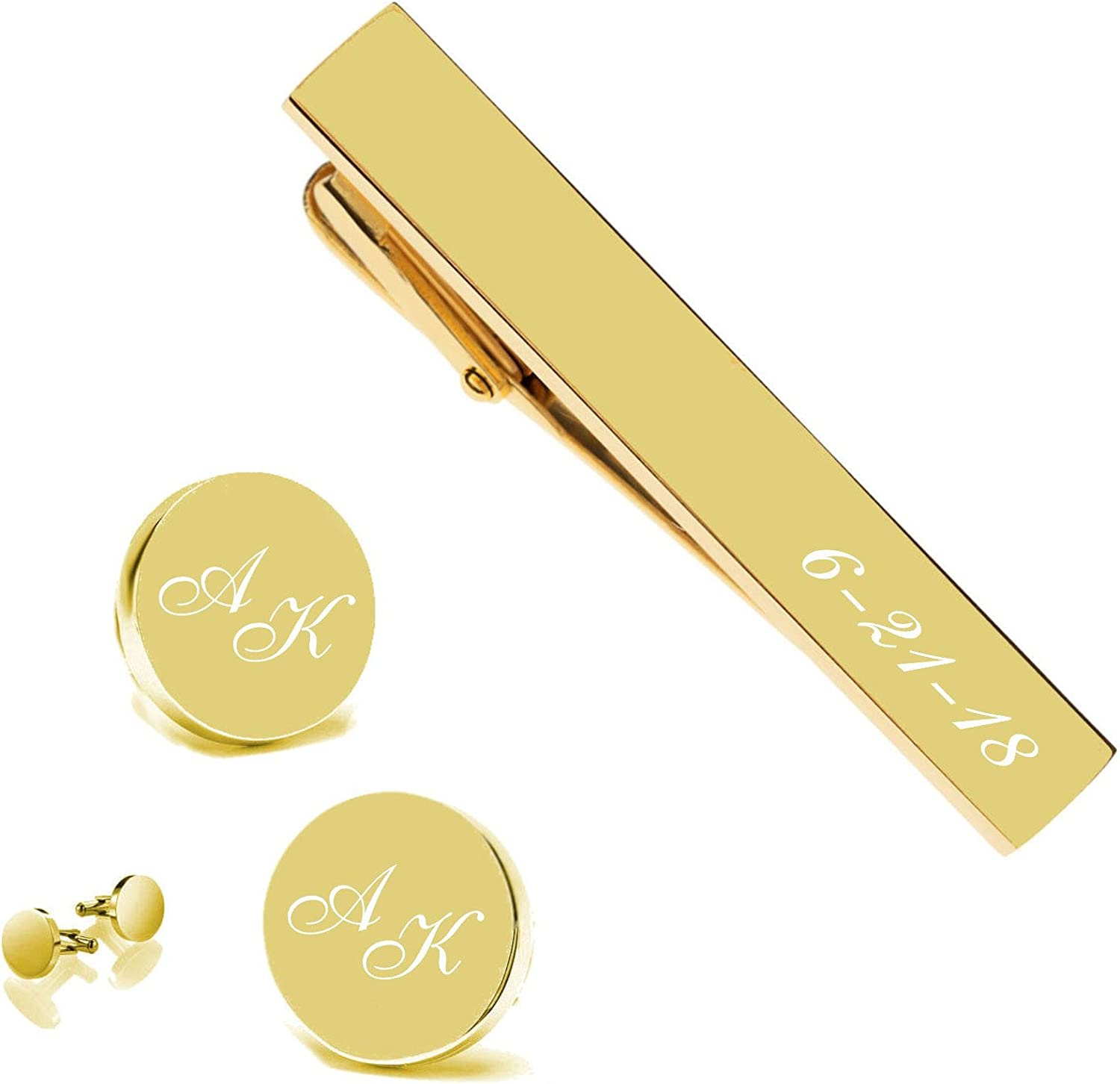 Personalized Gold Circle Cuff Links & Tie Clip Set Custom Engraved Free - Ships from USA