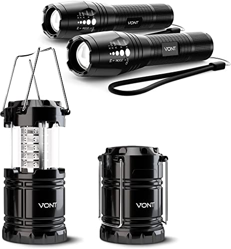 discount Vont new arrival Adventure Lighting Pack 2-2-Pack Flashlight + 2-Pack LED Camping Lanterns - for Trekking, Mountain Climbing, Spelunking, & More Outdoor Activities - Compact, Durable, & Good for discount Emergencies online sale