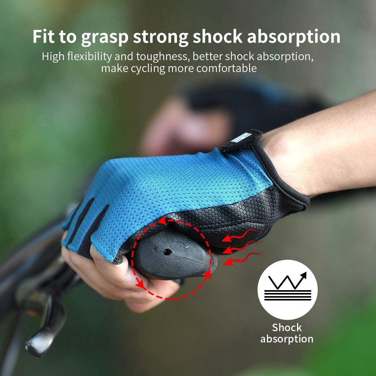 Anti-Slip Shock Absorbing Padded Fingerless Cycling Gloves for Men//Women HUPENG Mountain Bike Gloves