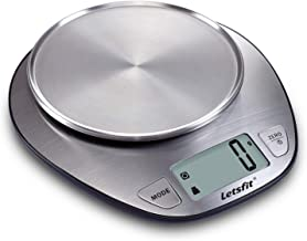 Letsfit Food Scale, Digital Kitchen Scale Weight Grams and Oz, LCD Screen Display and Stainless Steel, Capacity Range from 0.1oz (1g) to 11lbs (5000g), Batteries Included