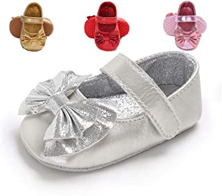 TIMATEGO Baby Girls Mary Jane Flats Shoes Non-Slip Toddler Infant First Walkers Princess Dress Shoes