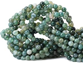 Qiwan 60PCS 6mm Moss Agate Gemstone Loose Beads Natural Round Crystal Energy Stone Healing Power for Jewelry Making 1 Strand 15