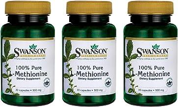 Swanson Amino Acid 100% Pure L-Methionine 500 Milligrams 30 Capsules (3 Pack)